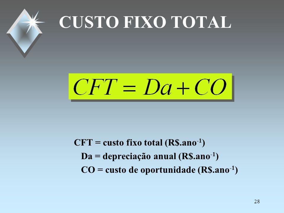 27 CUSTO DE OPORTUNIDADE CO = custo de oportunidade (R$.ano -1 ) Csec = custo do secador (R$) CM = custo dos motores (R$) CF = custo de fundação(R$) i = taxa anual real juros, decimal (0,06 a.a.)