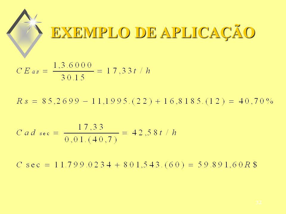 31 DADOS: EC = 6000 t milho PC = 30 dias JP = 15 t/dia Ui = 22%b.u.