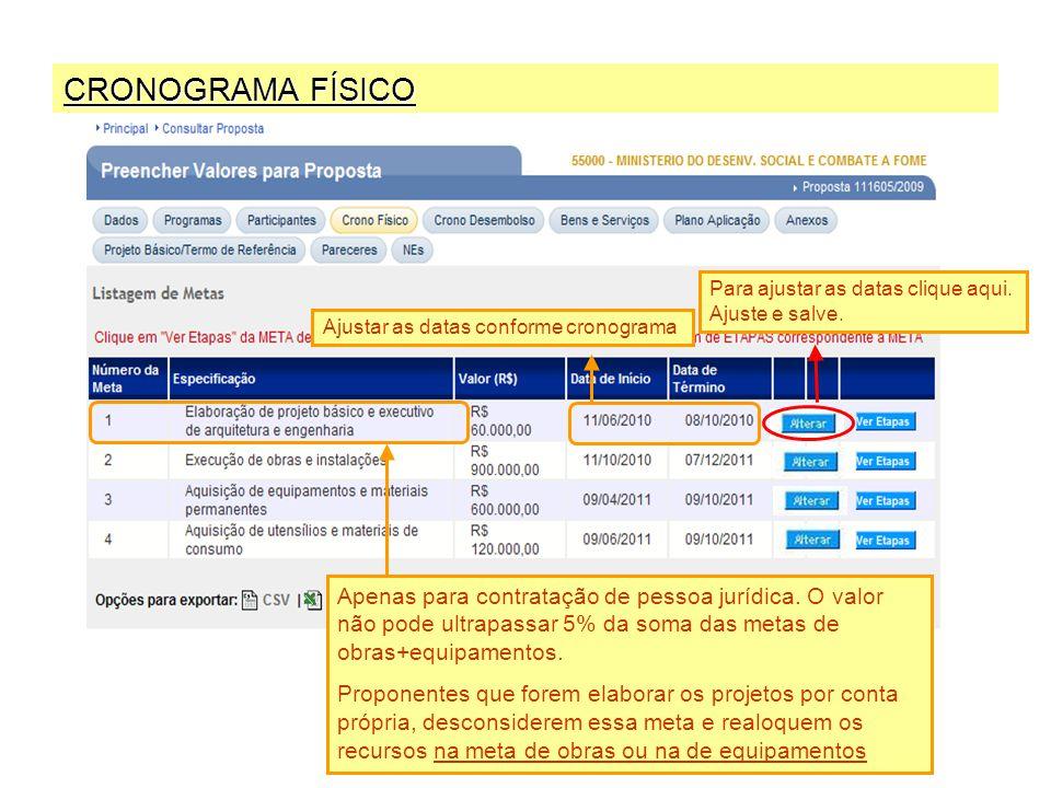 CRONOGRAMA FÍSICO Apenas para contratação de pessoa jurídica.