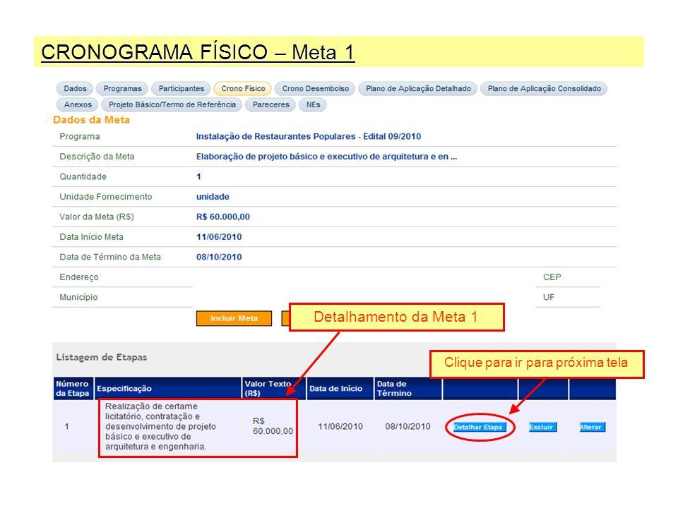 CRONOGRAMA FÍSICO – Meta 1 Detalhamento da Meta 1 Clique para ir para próxima tela