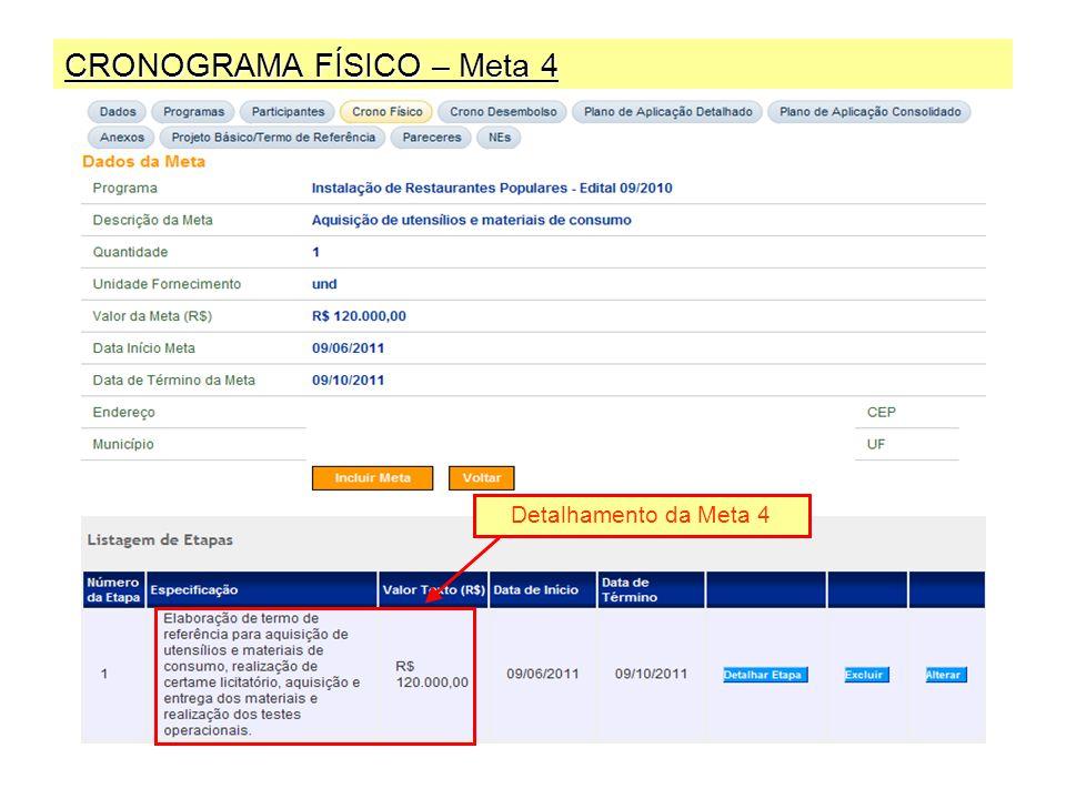 CRONOGRAMA FÍSICO – Meta 4 Detalhamento da Meta 4