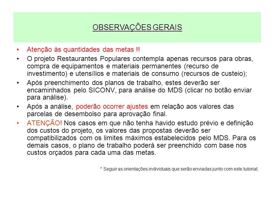 PARÂMETROS PARA PROJETOS DE RESTAURANTES POPULARES Projetos de Implantação R$ 2.000.000,00 (Repasse MDS), sendo: –R$ 1.900.000,00 recursos de investimento (projeto básico, obras e equipamentos) –R$ 100.000,00 recursos de custeio (materiais de consumo) Contrapartida: nos termos da LDO 2010 Cronograma Físico-Financeiro (distribuição sugerida dos recursos) Meta Projetos: máx.