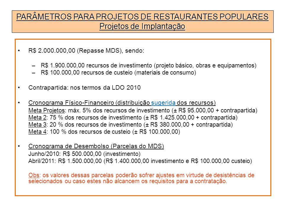 PARÂMETROS PARA PROJETOS DE RESTAURANTES POPULARES Projetos de Implantação R$ 2.000.000,00 (Repasse MDS), sendo: –R$ 1.900.000,00 recursos de investim