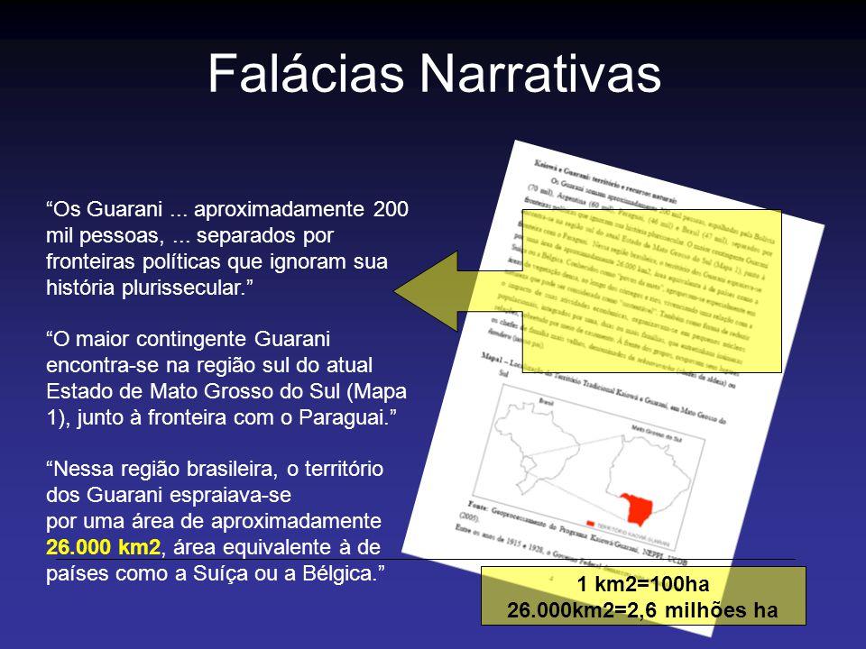 Os Guarani... aproximadamente 200 mil pessoas,... separados por fronteiras políticas que ignoram sua história plurissecular. O maior contingente Guara