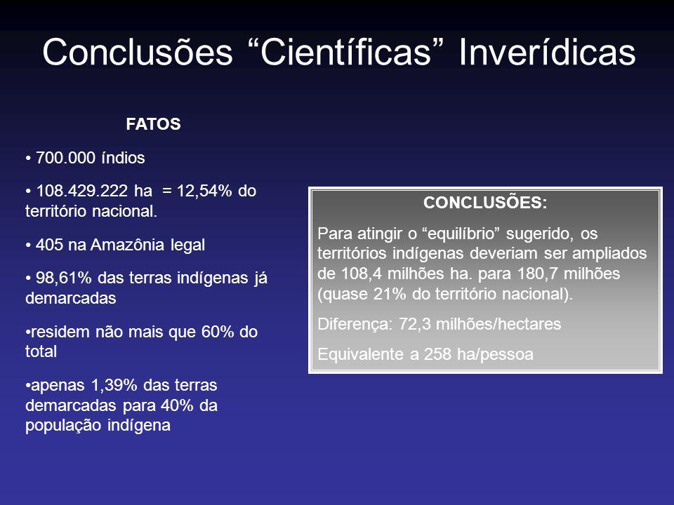 Conclusões Científicas Inverídicas FATOS 700.000 índios 108.429.222 ha = 12,54% do território nacional. 405 na Amazônia legal 98,61% das terras indíge