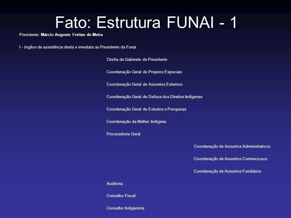 Fato: Estrutura FUNAI - 1 Presidente: Márcio Augusto Freitas de Meira I - órgãos de assistência direta e imediata ao Presidente da Funai Chefia de Gab