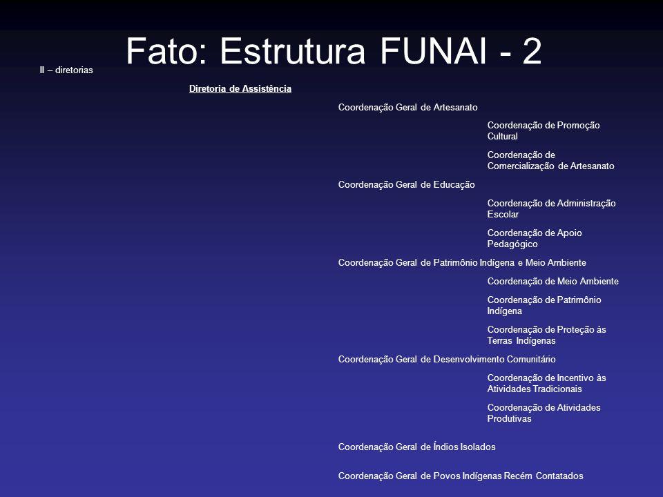Fato: Estrutura FUNAI - 2 II – diretorias Diretoria de Assistência Coordenação Geral de Artesanato Coordenação de Promoção Cultural Coordenação de Com