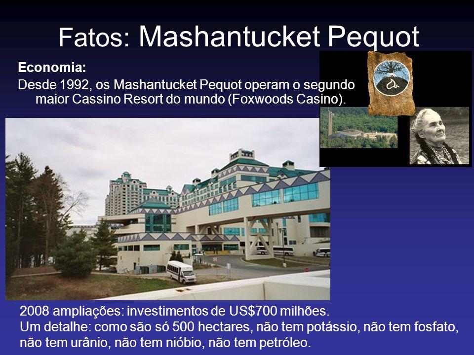 Fatos: Mashantucket Pequot 2008 ampliações: investimentos de US$700 milhões. Um detalhe: como são só 500 hectares, não tem potássio, não tem fosfato,