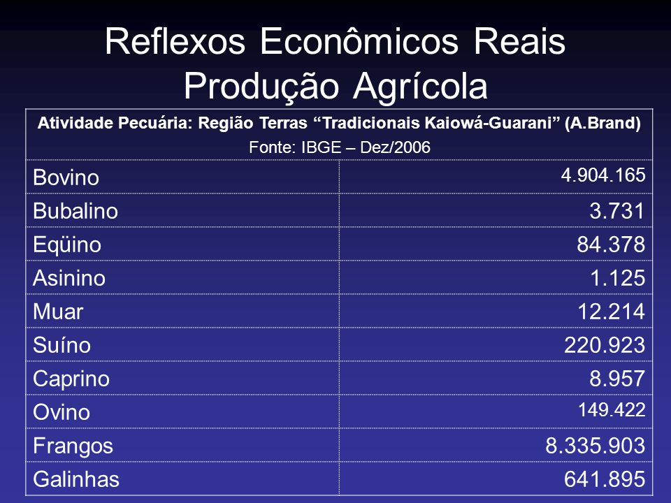 Reflexos Econômicos Reais Produção Agrícola Atividade Pecuária: Região Terras Tradicionais Kaiowá-Guarani (A.Brand) Fonte: IBGE – Dez/2006 Bovino 4.90