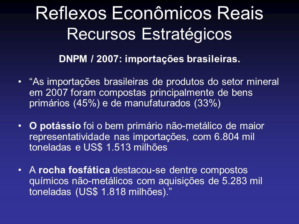 DNPM / 2007: importações brasileiras. As importações brasileiras de produtos do setor mineral em 2007 foram compostas principalmente de bens primários