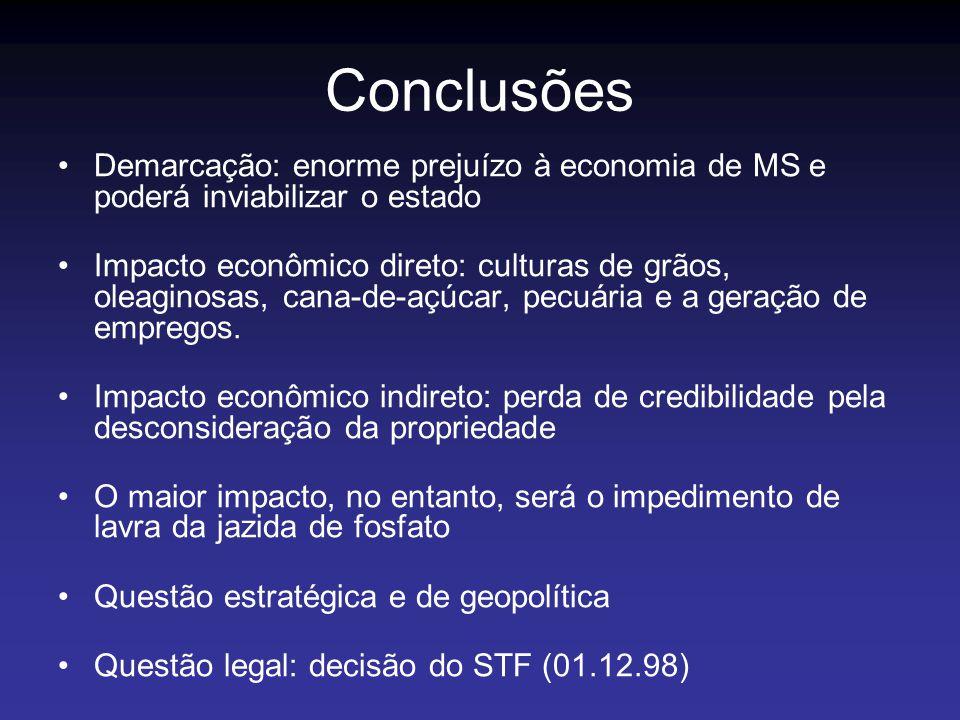 Conclusões Demarcação: enorme prejuízo à economia de MS e poderá inviabilizar o estado Impacto econômico direto: culturas de grãos, oleaginosas, cana-