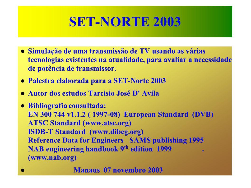 SET-NORTE 2003 Simulação de uma transmissão de TV usando as várias tecnologias existentes na atualidade, para avaliar a necessidade de potência de transmissor.