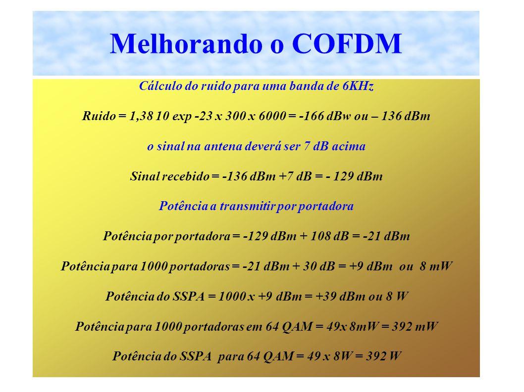 Cálculo do ruido para uma banda de 6KHz Ruido = 1,38 10 exp -23 x 300 x 6000 = -166 dBw ou – 136 dBm o sinal na antena deverá ser 7 dB acima Sinal recebido = -136 dBm +7 dB = - 129 dBm Potência a transmitir por portadora Potência por portadora = -129 dBm + 108 dB = -21 dBm Potência para 1000 portadoras = -21 dBm + 30 dB = +9 dBm ou 8 mW Potência do SSPA = 1000 x +9 dBm = +39 dBm ou 8 W Potência para 1000 portadoras em 64 QAM = 49x 8mW = 392 mW Potência do SSPA para 64 QAM = 49 x 8W = 392 W Melhorando o COFDM