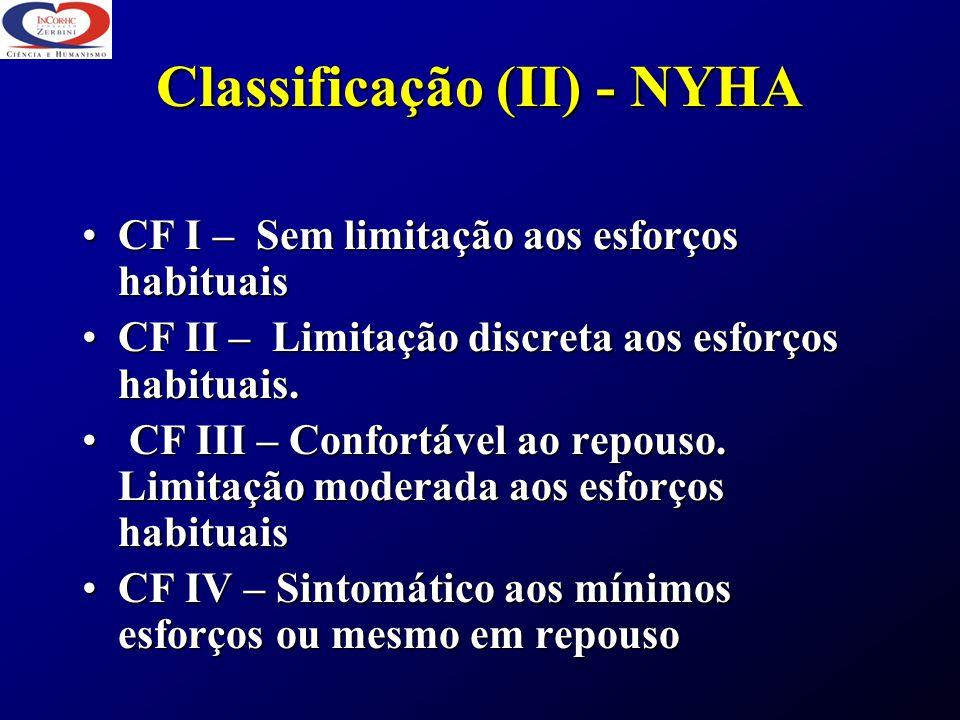 Classificação (II) - NYHA CF I – Sem limitação aos esforços habituaisCF I – Sem limitação aos esforços habituais CF II – Limitação discreta aos esforç