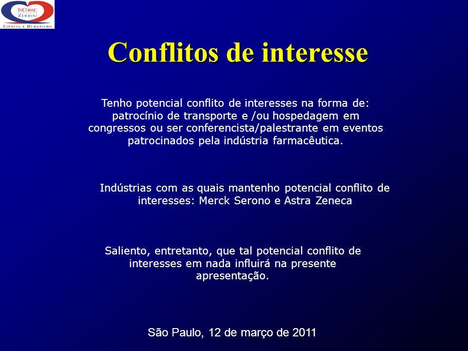 Conflitos de interesse São Paulo, 12 de março de 2011 Tenho potencial conflito de interesses na forma de: patrocínio de transporte e /ou hospedagem em