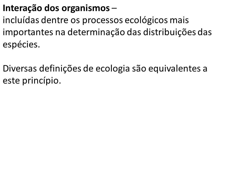 Interação dos organismos – incluídas dentre os processos ecológicos mais importantes na determinação das distribuições das espécies.