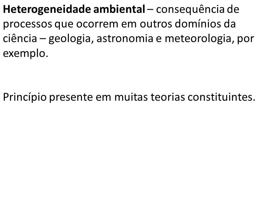 Heterogeneidade ambiental – consequência de processos que ocorrem em outros domínios da ciência – geologia, astronomia e meteorologia, por exemplo.