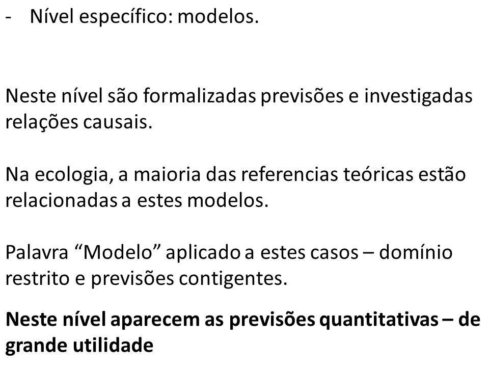 -Nível específico: modelos. Neste nível são formalizadas previsões e investigadas relações causais.
