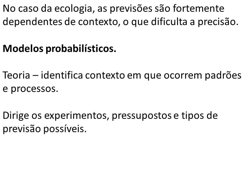 No caso da ecologia, as previsões são fortemente dependentes de contexto, o que dificulta a precisão.