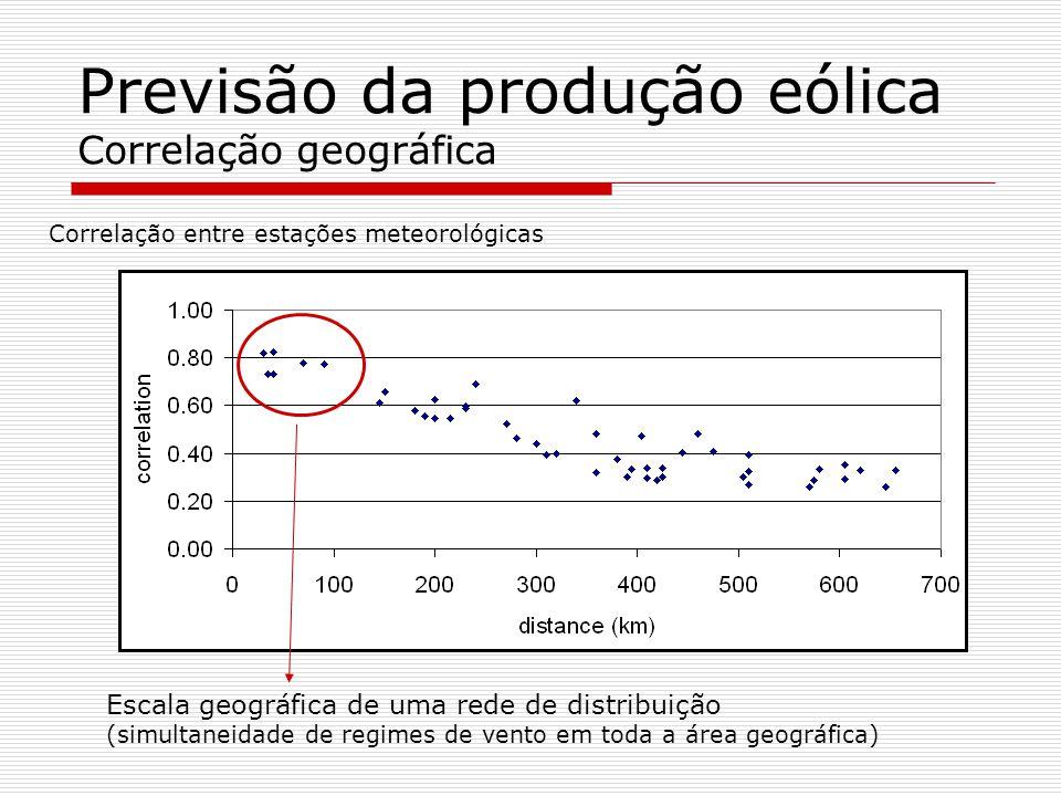 Previsão da produção eólica Correlação geográfica Correlação entre estações meteorológicas Escala geográfica de uma rede de distribuição (simultaneida