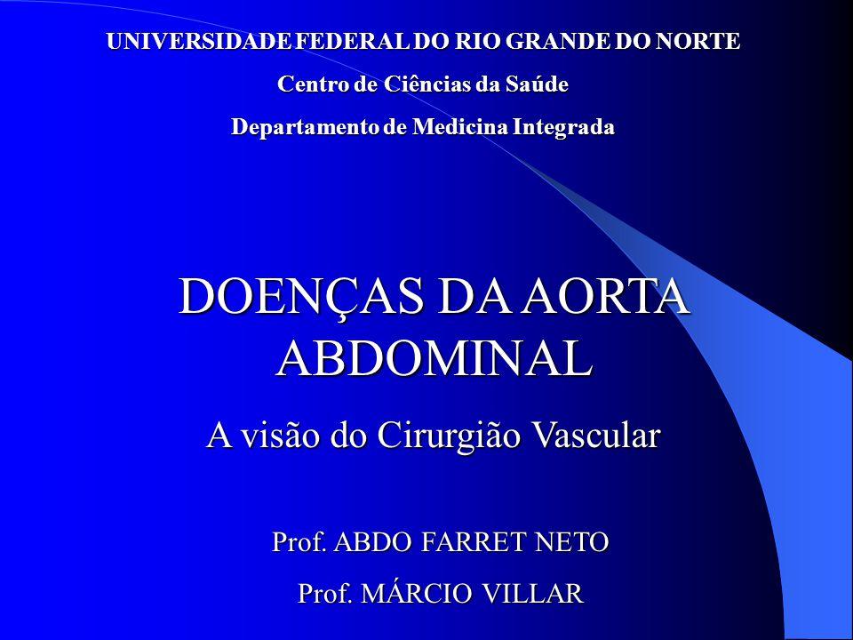 UNIVERSIDADE FEDERAL DO RIO GRANDE DO NORTE Centro de Ciências da Saúde Departamento de Medicina Integrada DOENÇAS DA AORTA ABDOMINAL A visão do Cirurgião Vascular Prof.