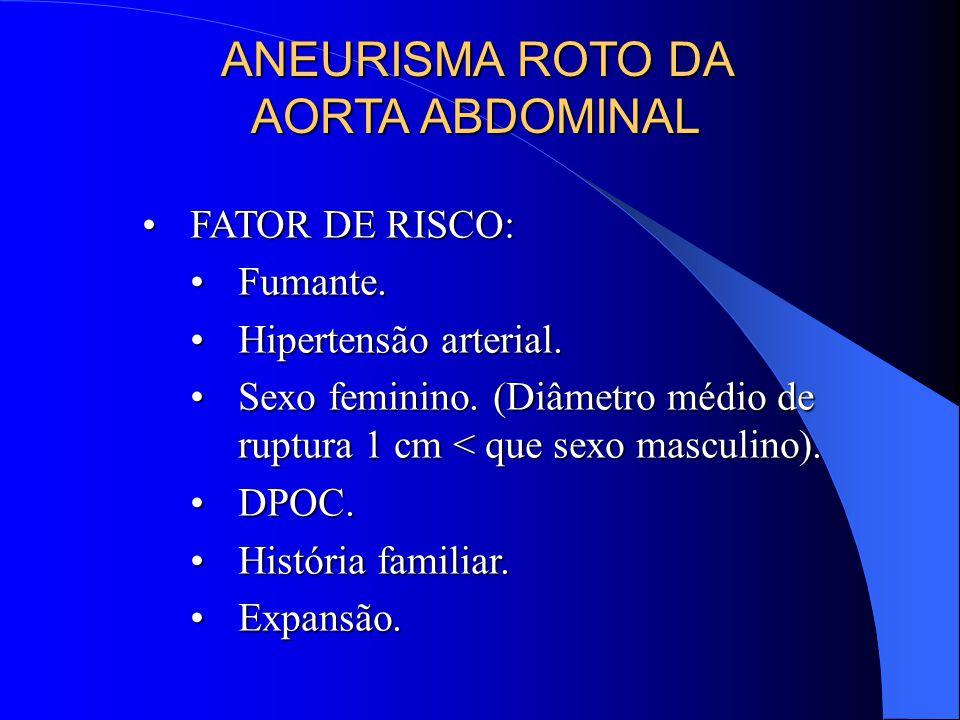 ANEURISMA ROTO DA AORTA ABDOMINAL FATOR DE RISCO:FATOR DE RISCO: Fumante.Fumante.