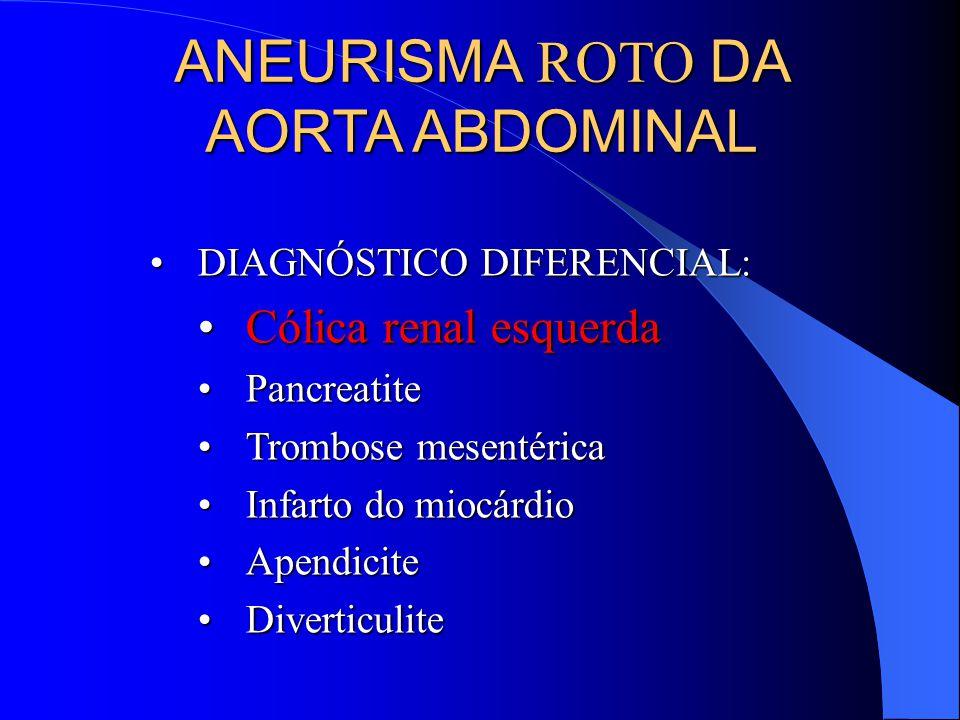 ANEURISMA ROTO DA AORTA ABDOMINAL DIAGNÓSTICO DIFERENCIAL:DIAGNÓSTICO DIFERENCIAL: Cólica renal esquerdaCólica renal esquerda PancreatitePancreatite Trombose mesentéricaTrombose mesentérica Infarto do miocárdioInfarto do miocárdio ApendiciteApendicite DiverticuliteDiverticulite