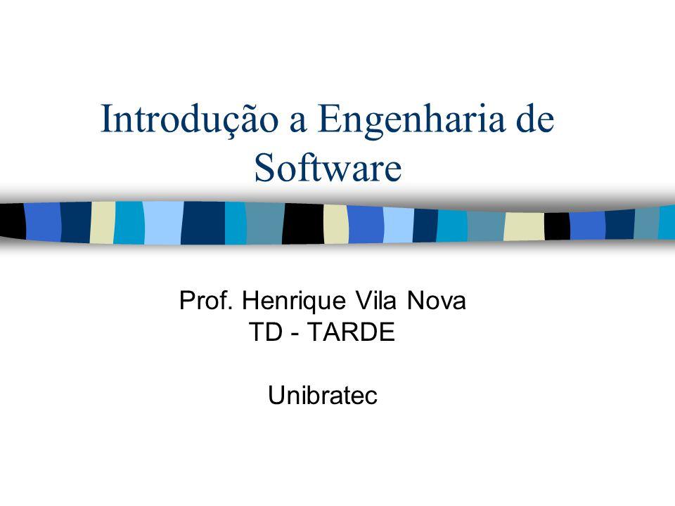 Introdução a Engenharia de Software Prof. Henrique Vila Nova TD - TARDE Unibratec