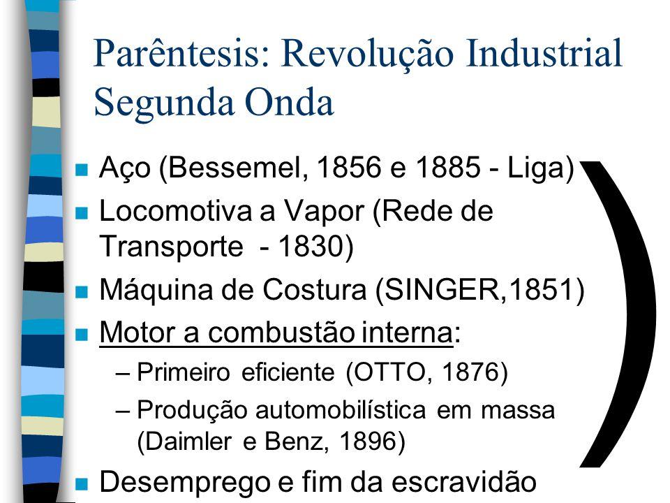 ) Parêntesis: Revolução Industrial Segunda Onda n Aço (Bessemel, 1856 e 1885 - Liga) n Locomotiva a Vapor (Rede de Transporte - 1830) n Máquina de Cos