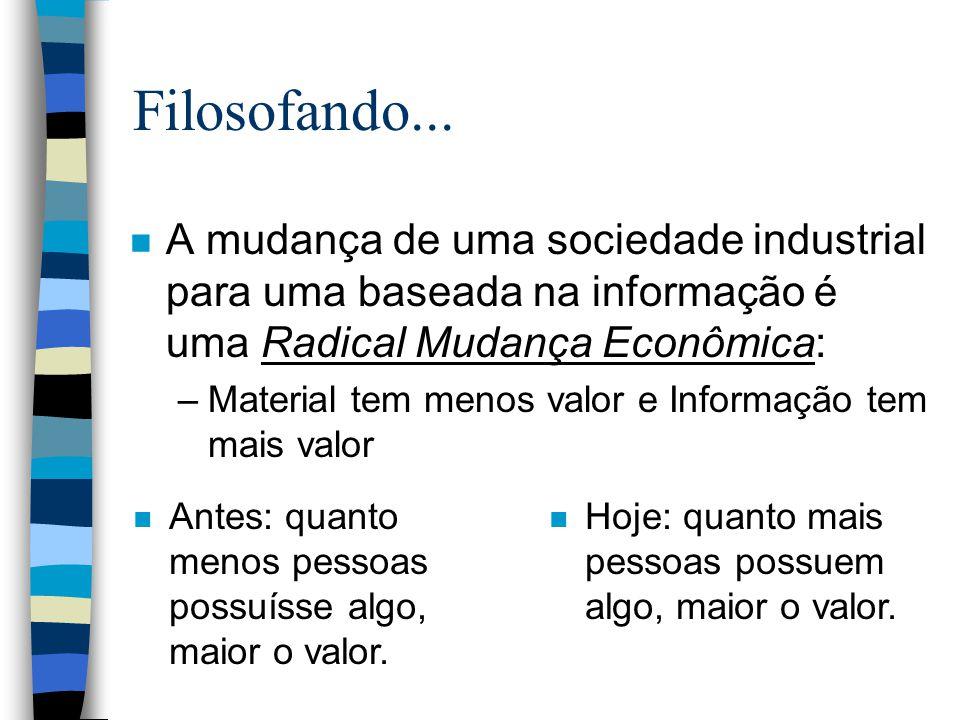 Filosofando... n A mudança de uma sociedade industrial para uma baseada na informação é uma Radical Mudança Econômica: –Material tem menos valor e Inf