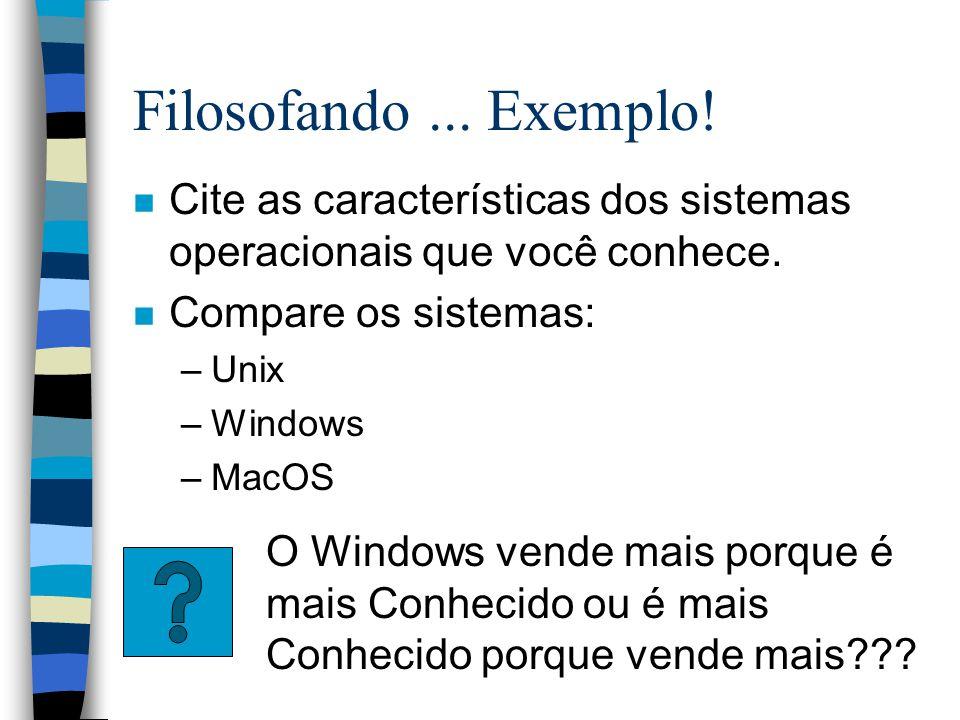 Filosofando... Exemplo! n Cite as características dos sistemas operacionais que você conhece. n Compare os sistemas: –Unix –Windows –MacOS O Windows v