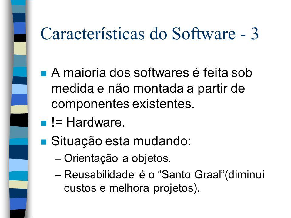 Características do Software - 3 n A maioria dos softwares é feita sob medida e não montada a partir de componentes existentes. n != Hardware. n Situaç