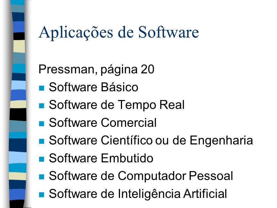 Aplicações de Software Pressman, página 20 n Software Básico n Software de Tempo Real n Software Comercial n Software Científico ou de Engenharia n So