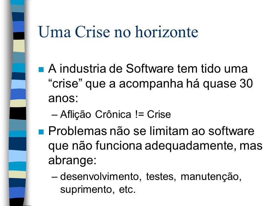Uma Crise no horizonte n A industria de Software tem tido uma crise que a acompanha há quase 30 anos: –Aflição Crônica != Crise n Problemas não se lim