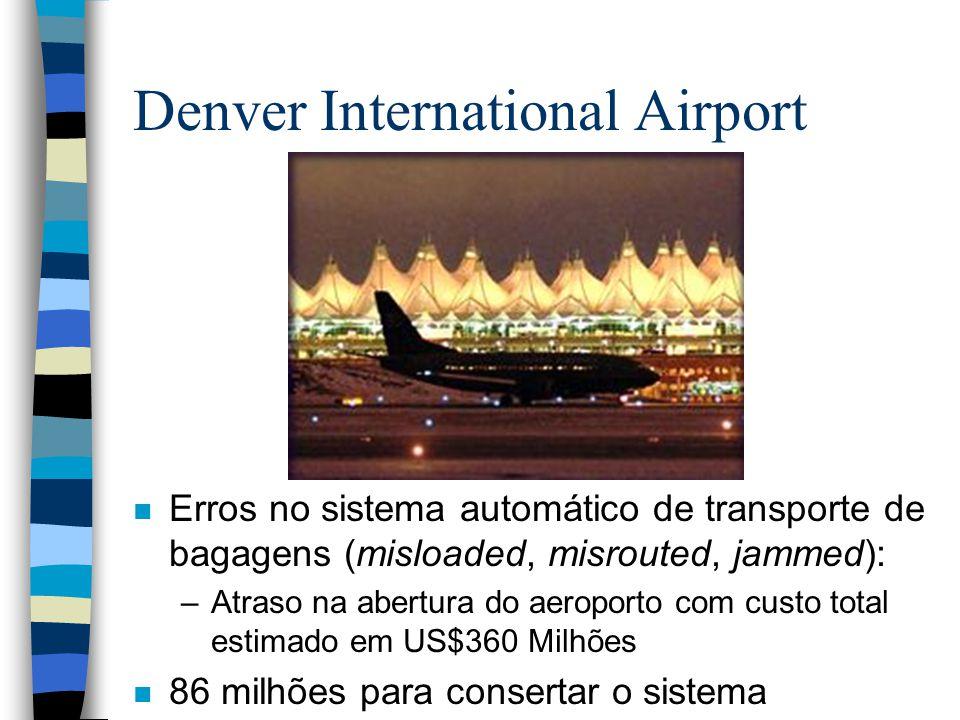 Denver International Airport n Erros no sistema automático de transporte de bagagens (misloaded, misrouted, jammed): –Atraso na abertura do aeroporto