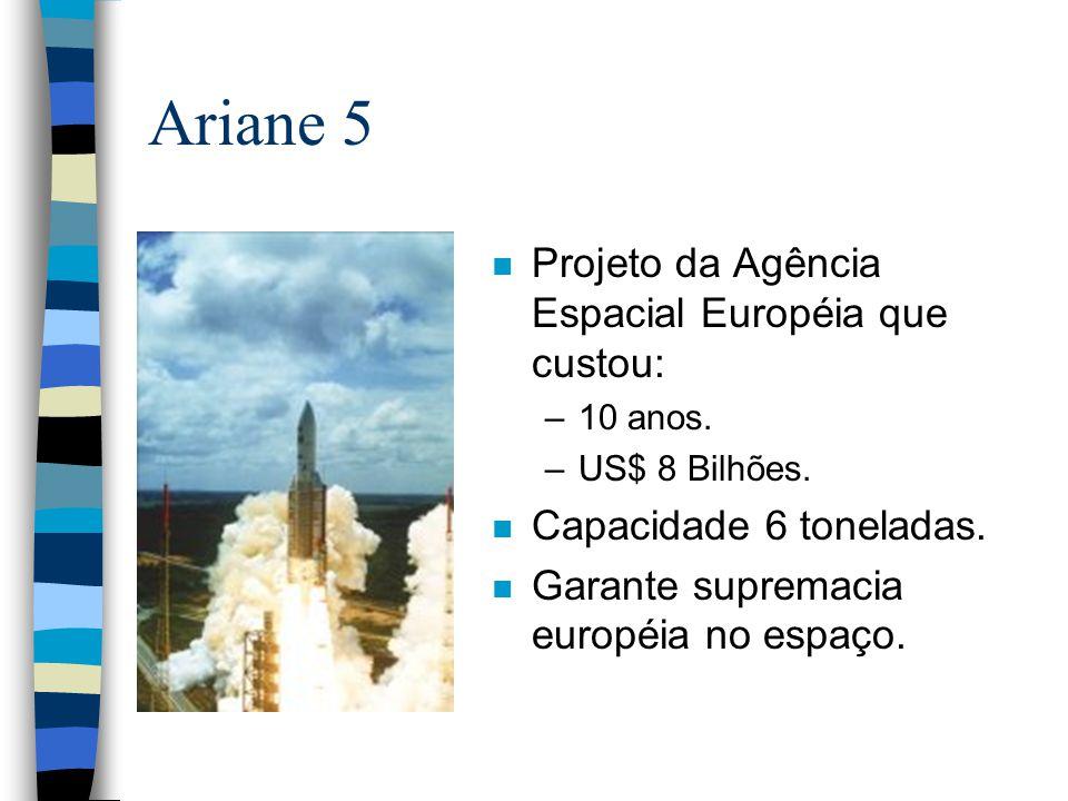n Projeto da Agência Espacial Européia que custou: –10 anos. –US$ 8 Bilhões. n Capacidade 6 toneladas. n Garante supremacia européia no espaço.