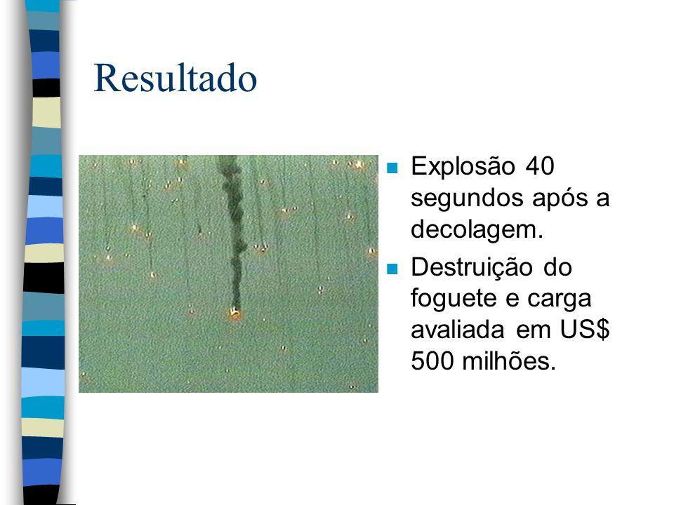 Resultado n Explosão 40 segundos após a decolagem. n Destruição do foguete e carga avaliada em US$ 500 milhões.