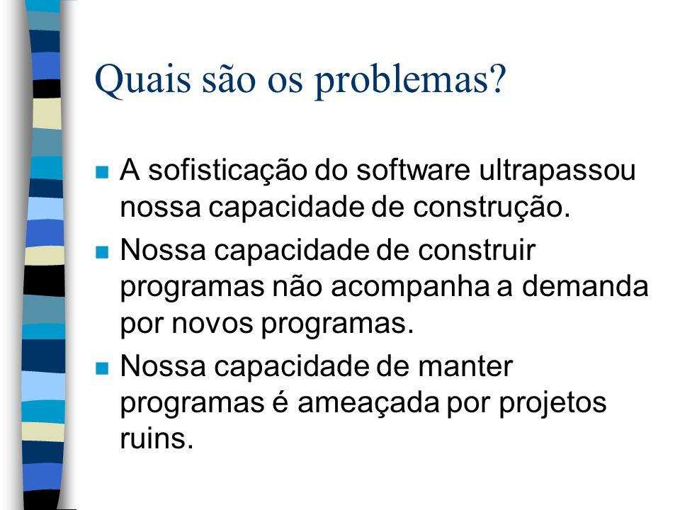 Quais são os problemas? n A sofisticação do software ultrapassou nossa capacidade de construção. n Nossa capacidade de construir programas não acompan
