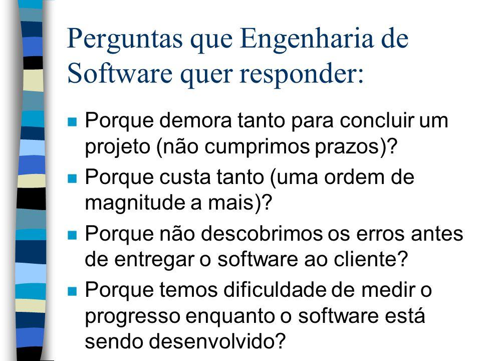 Perguntas que Engenharia de Software quer responder: n Porque demora tanto para concluir um projeto (não cumprimos prazos)? n Porque custa tanto (uma