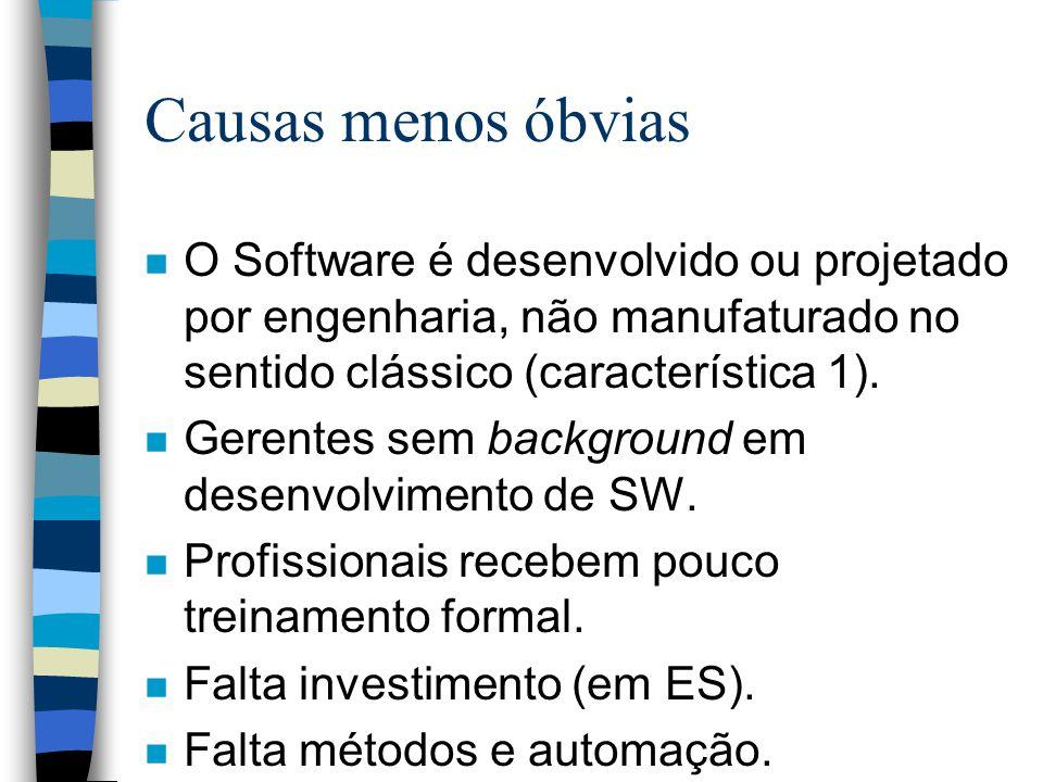 Causas menos óbvias n O Software é desenvolvido ou projetado por engenharia, não manufaturado no sentido clássico (característica 1). n Gerentes sem b