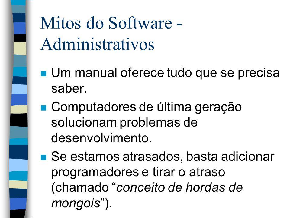 Mitos do Software - Administrativos n Um manual oferece tudo que se precisa saber. n Computadores de última geração solucionam problemas de desenvolvi