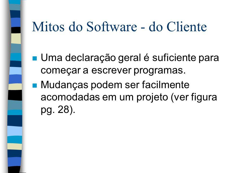 Mitos do Software - do Cliente n Uma declaração geral é suficiente para começar a escrever programas. n Mudanças podem ser facilmente acomodadas em um