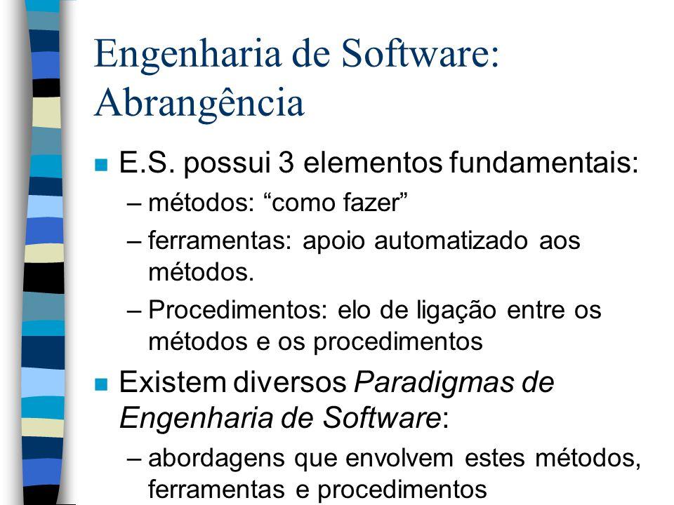 Engenharia de Software: Abrangência n E.S. possui 3 elementos fundamentais: –métodos: como fazer –ferramentas: apoio automatizado aos métodos. –Proced