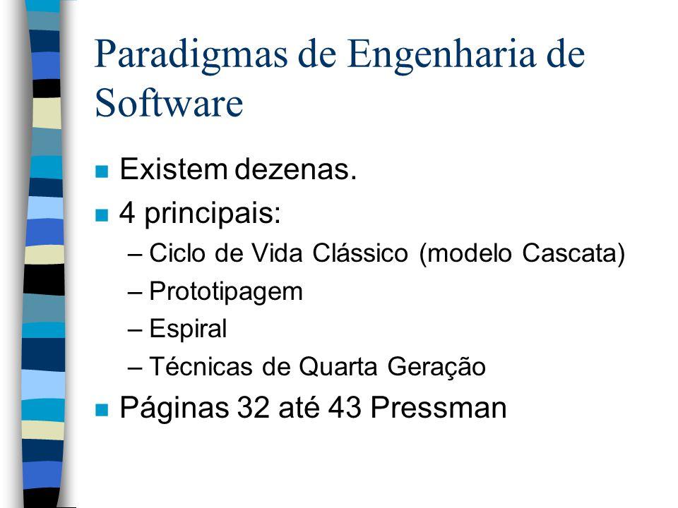 Paradigmas de Engenharia de Software n Existem dezenas. n 4 principais: –Ciclo de Vida Clássico (modelo Cascata) –Prototipagem –Espiral –Técnicas de Q