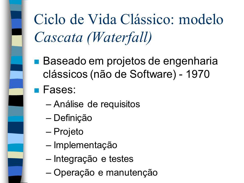 Ciclo de Vida Clássico: modelo Cascata (Waterfall) n Baseado em projetos de engenharia clássicos (não de Software) - 1970 n Fases: –Análise de requisi
