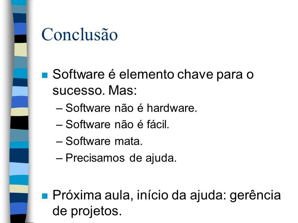Conclusão n Software é elemento chave para o sucesso. Mas: –Software não é hardware. –Software não é fácil. –Software mata. –Precisamos de ajuda. n Pr