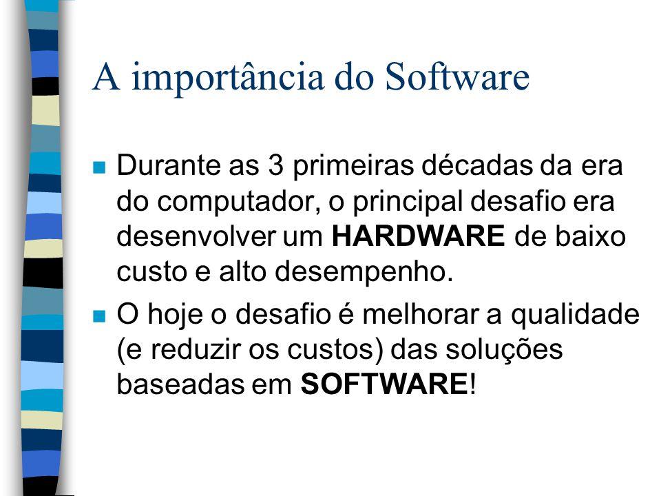 A importância do Software n Durante as 3 primeiras décadas da era do computador, o principal desafio era desenvolver um HARDWARE de baixo custo e alto