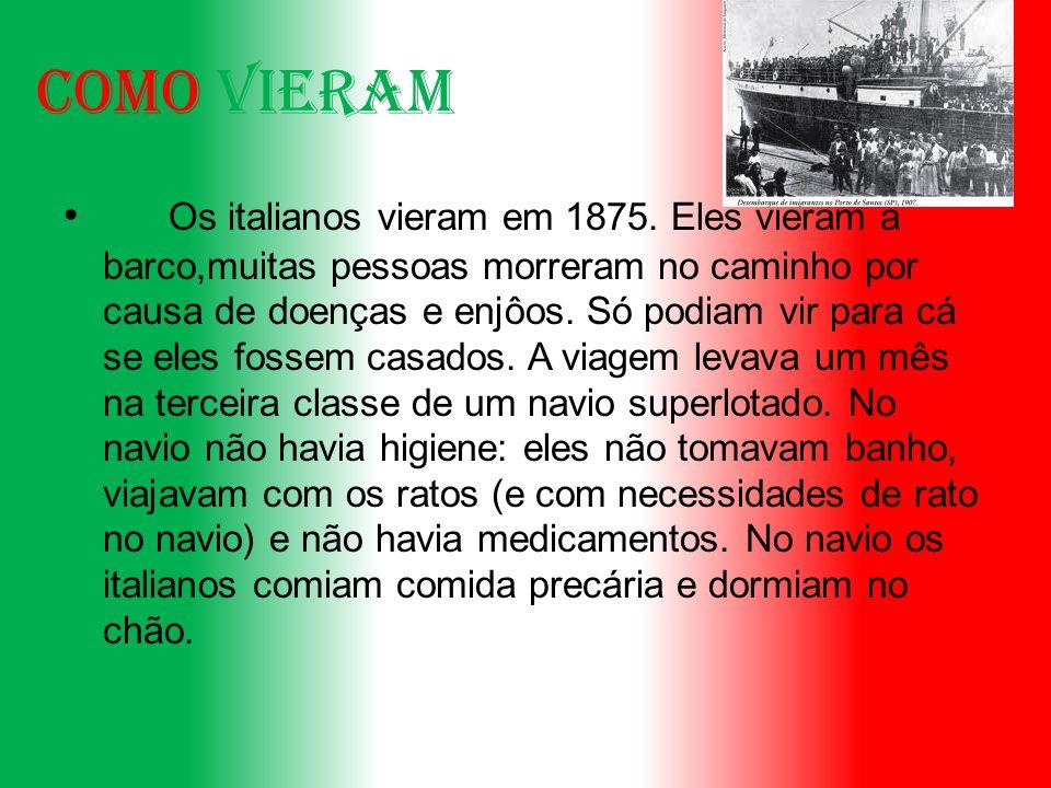 Como vieram.Os italianos vieram em 1875.