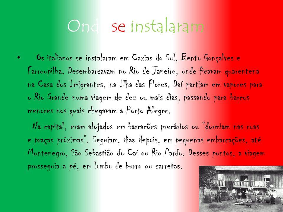 Onde se instalaram Os italianos se instalaram em Caxias do Sul, Bento Gonçalves e Farroupilha.