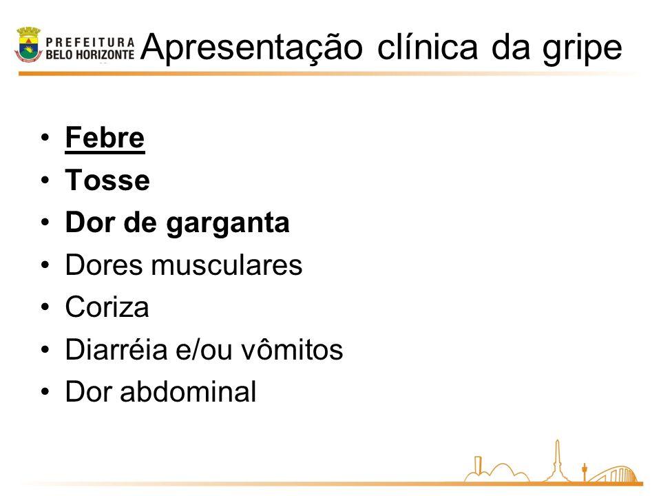 Apresentação clínica da gripe Febre Tosse Dor de garganta Dores musculares Coriza Diarréia e/ou vômitos Dor abdominal